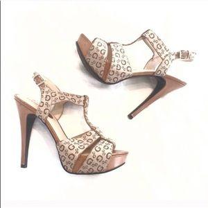 🔷BOGO🔷🆕 Guess logo platform heels sandals 8